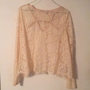 Free People Tops - Free People Long-Sleeve Lace Flared Cropped Top